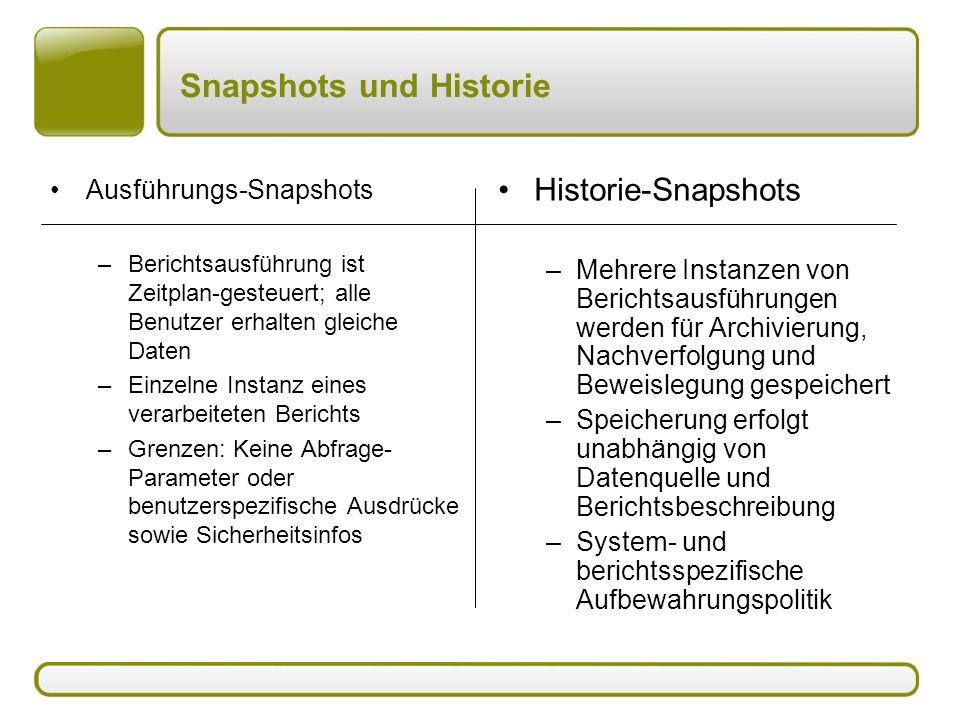 Snapshots und Historie Ausführungs-Snapshots –Berichtsausführung ist Zeitplan-gesteuert; alle Benutzer erhalten gleiche Daten –Einzelne Instanz eines