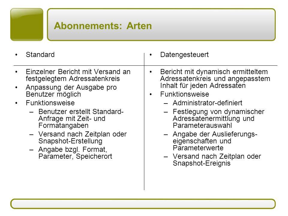 Abonnements: Arten Standard Einzelner Bericht mit Versand an festgelegtem Adressatenkreis Anpassung der Ausgabe pro Benutzer möglich Funktionsweise –B