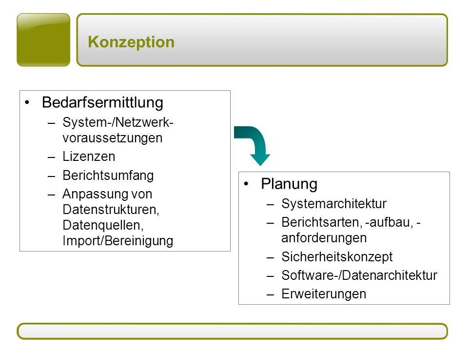 Konzeption Bedarfsermittlung –System-/Netzwerk- voraussetzungen –Lizenzen –Berichtsumfang –Anpassung von Datenstrukturen, Datenquellen, Import/Bereinigung Planung –Systemarchitektur –Berichtsarten, -aufbau, - anforderungen –Sicherheitskonzept –Software-/Datenarchitektur –Erweiterungen