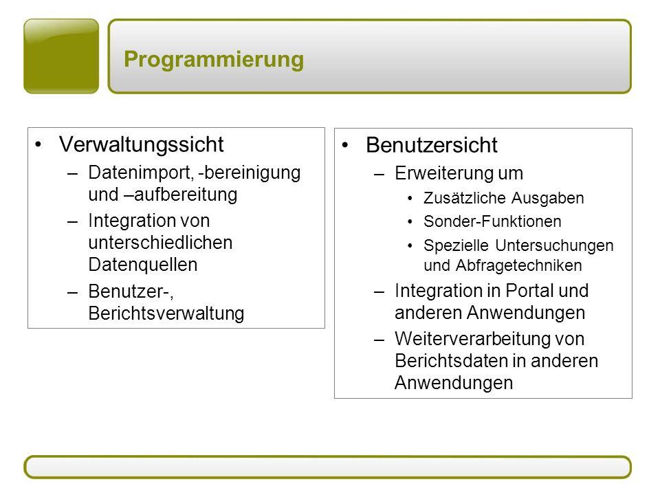 Programmierung Verwaltungssicht –Datenimport, -bereinigung und –aufbereitung –Integration von unterschiedlichen Datenquellen –Benutzer-, Berichtsverwa