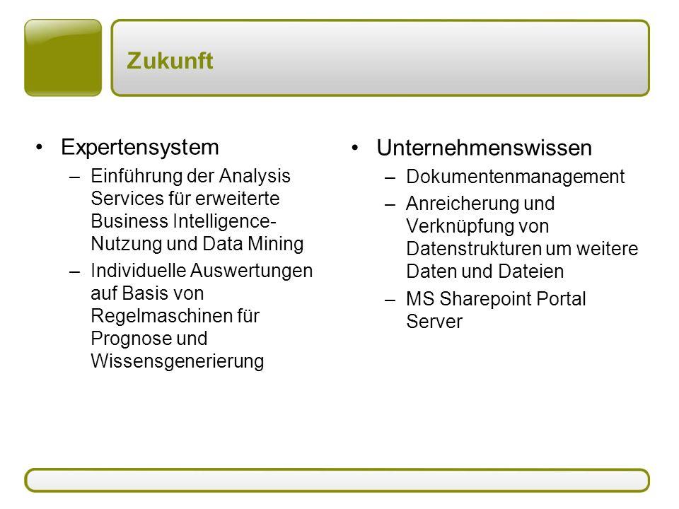 Zukunft Expertensystem –Einführung der Analysis Services für erweiterte Business Intelligence- Nutzung und Data Mining –Individuelle Auswertungen auf