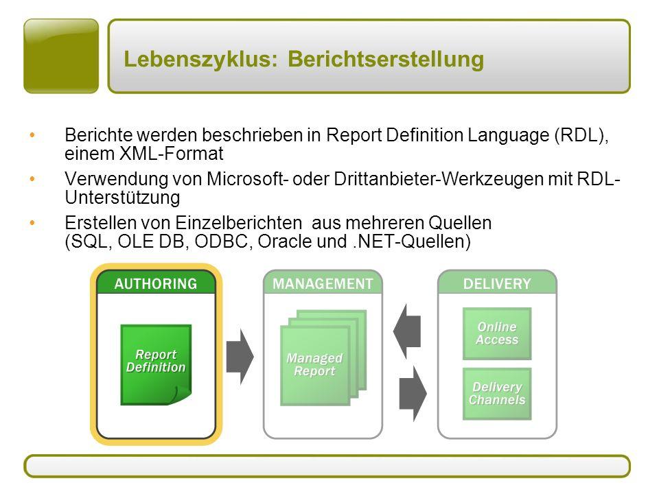 Lebenszyklus: Berichtserstellung Berichte werden beschrieben in Report Definition Language (RDL), einem XML-Format Verwendung von Microsoft- oder Drittanbieter-Werkzeugen mit RDL- Unterstützung Erstellen von Einzelberichten aus mehreren Quellen (SQL, OLE DB, ODBC, Oracle und.NET-Quellen)