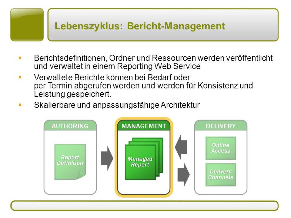 Lebenszyklus: Bericht-Management  Berichtsdefinitionen, Ordner und Ressourcen werden veröffentlicht und verwaltet in einem Reporting Web Service  Verwaltete Berichte können bei Bedarf oder per Termin abgerufen werden und werden für Konsistenz und Leistung gespeichert.