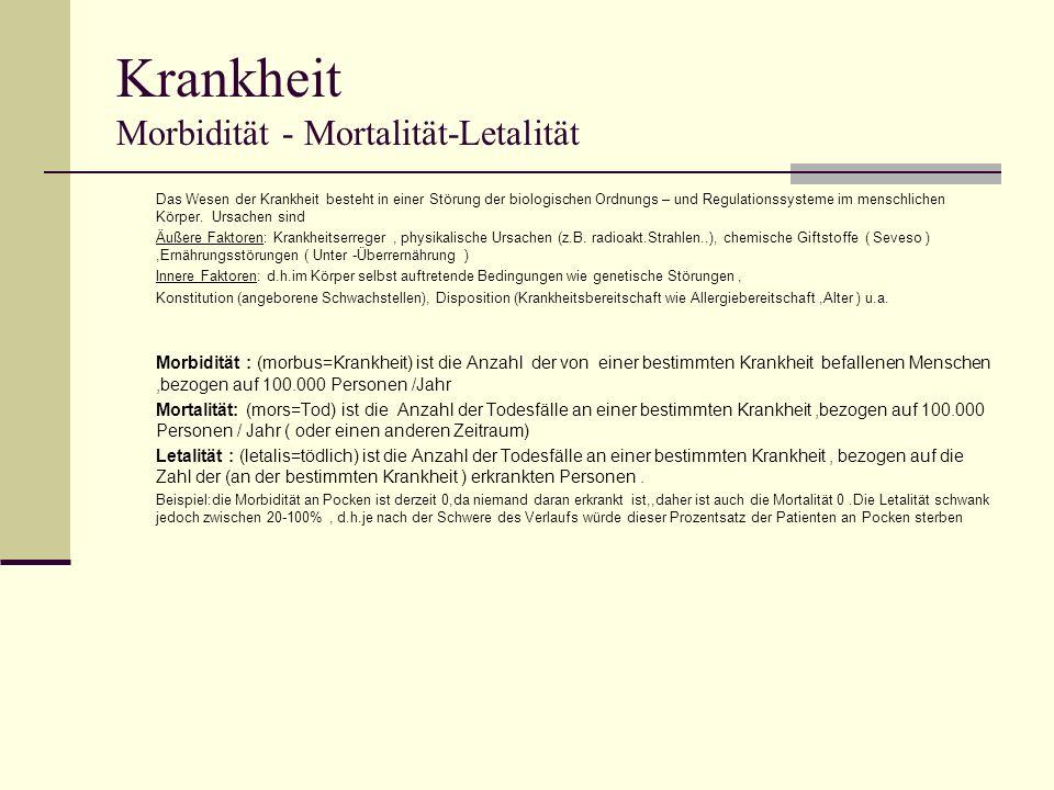 Krankheit Morbidität - Mortalität-Letalität Das Wesen der Krankheit besteht in einer Störung der biologischen Ordnungs – und Regulationssysteme im men