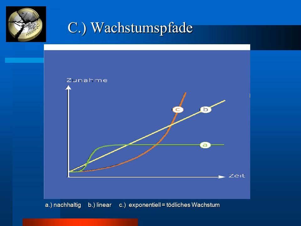 C.) Wachstumspfade C.) Wachstumspfade a.) nachhaltig b.) linear c.) exponentiell = tödliches Wachstum a.) nachhaltig b.) linear c.) exponentiell = töd
