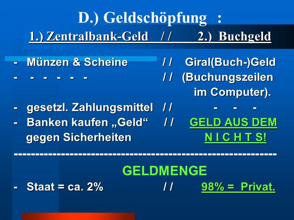 1.) Zentralbank-Geld / / 2.) Buchgeld D.) Geldschöpfung : 1.) Zentralbank-Geld / / 2.) Buchgeld - Münzen & Scheine / / Giral(Buch-)Geld - - - - - - /