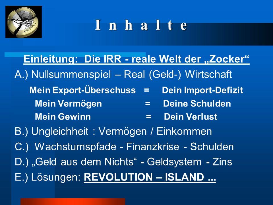 """I n h a l t e I n h a l t e Einleitung: Die IRR - reale Welt der """"Zocker"""" A.) Nullsummenspiel – Real (Geld-) Wirtschaft Mein Export-Überschuss = Dein"""