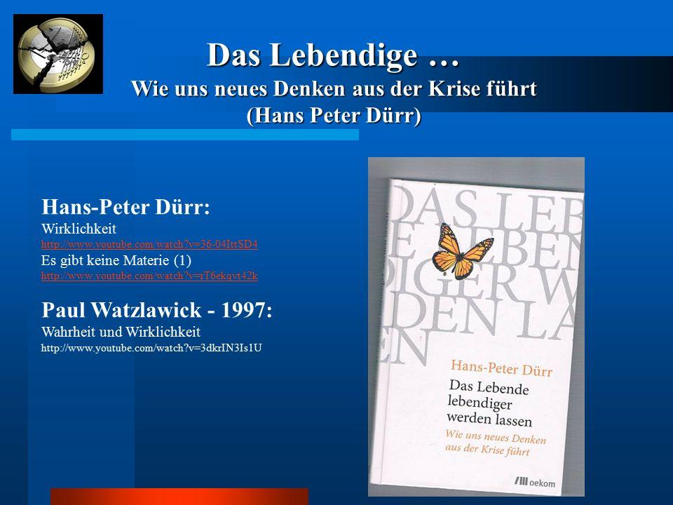 Hans-Peter Dürr: Wirklichkeit http://www.youtube.com/watch?v=36-04IttSD4 http://www.youtube.com/watch?v=36-04IttSD4 Es gibt keine Materie (1) http://w