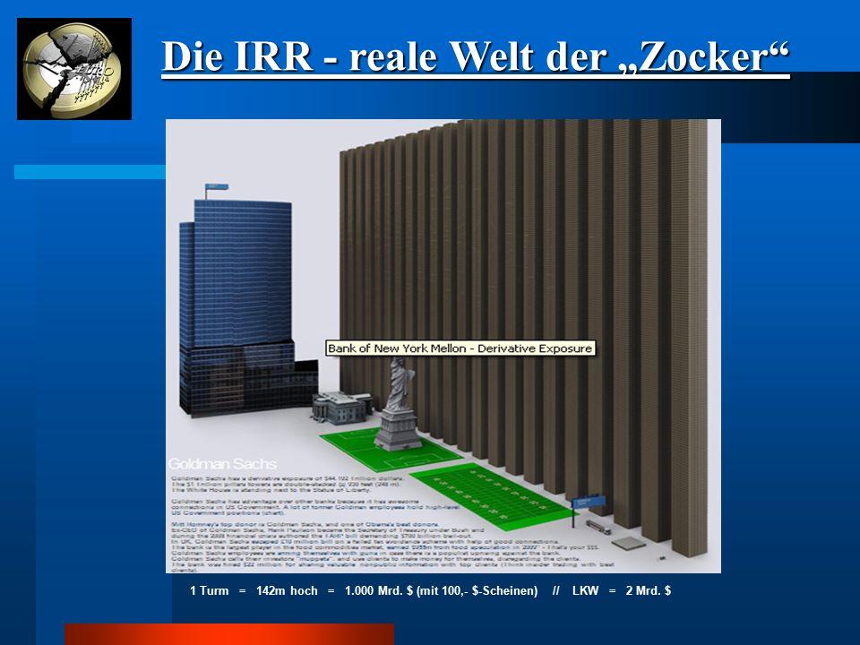 1 Turm = 142m hoch = 1.000 Mrd. $ (mit 100,- $-Scheinen) // LKW = 2 Mrd. $
