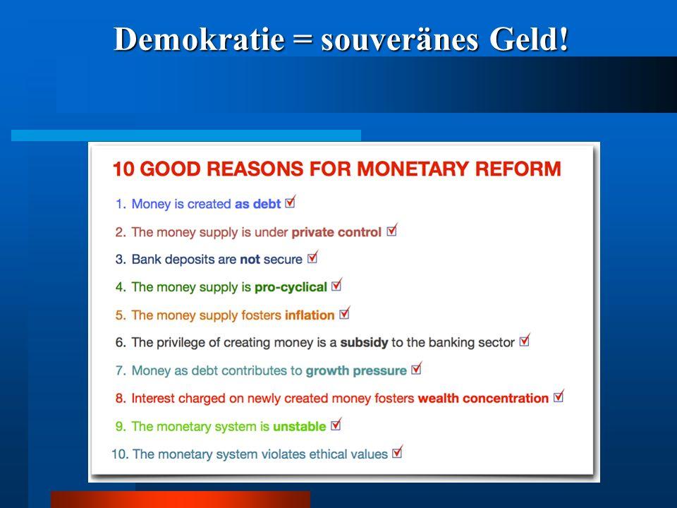 Demokratie = souveränes Geld!