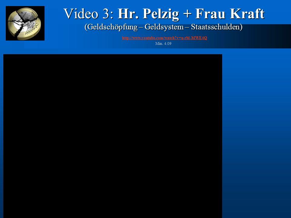 Video 3: Hr. Pelzig + Frau Kraft (Geldschöpfung – Geldsystem – Staatsschulden) Video 3: Hr. Pelzig + Frau Kraft (Geldschöpfung – Geldsystem – Staatssc