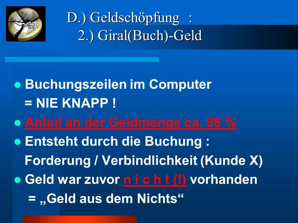 D.) Geldschöpfung : 2.) Giral(Buch)-Geld D.) Geldschöpfung : 2.) Giral(Buch)-Geld Buchungszeilen im Computer = NIE KNAPP ! Anteil an der Geldmenge ca.