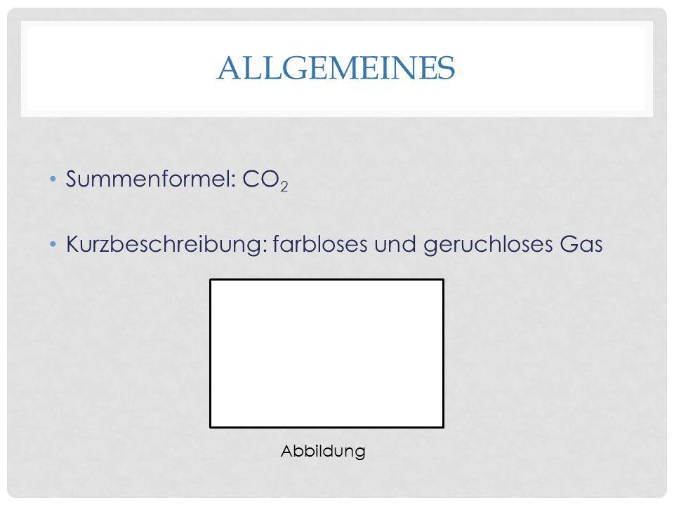 ALLGEMEINES Summenformel: CO 2 Kurzbeschreibung: farbloses und geruchloses Gas Abbildung