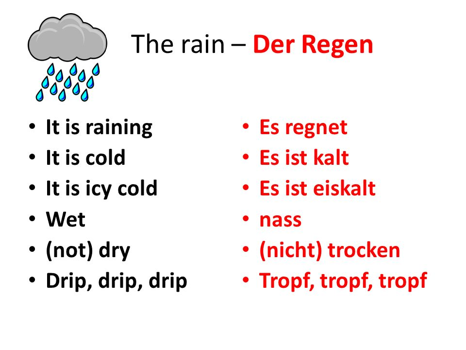 The rain – Der Regen It is raining It is cold It is icy cold Wet (not) dry Drip, drip, drip Es regnet Es ist kalt Es ist eiskalt nass (nicht) trocken Tropf, tropf, tropf