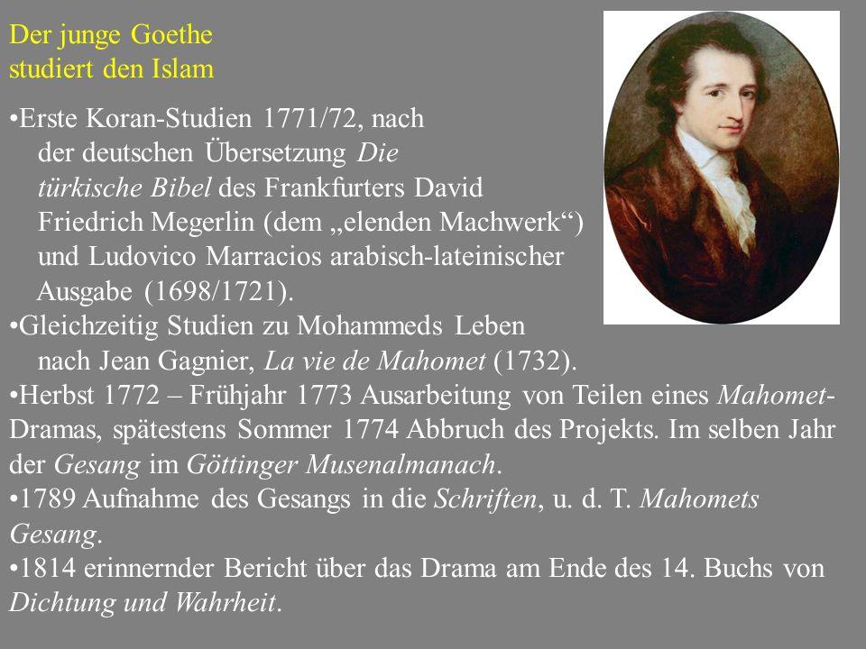 """Der junge Goethe studiert den Islam Erste Koran-Studien 1771/72, nach der deutschen Übersetzung Die türkische Bibel des Frankfurters David Friedrich Megerlin (dem """"elenden Machwerk ) und Ludovico Marracios arabisch-lateinischer Ausgabe (1698/1721)."""