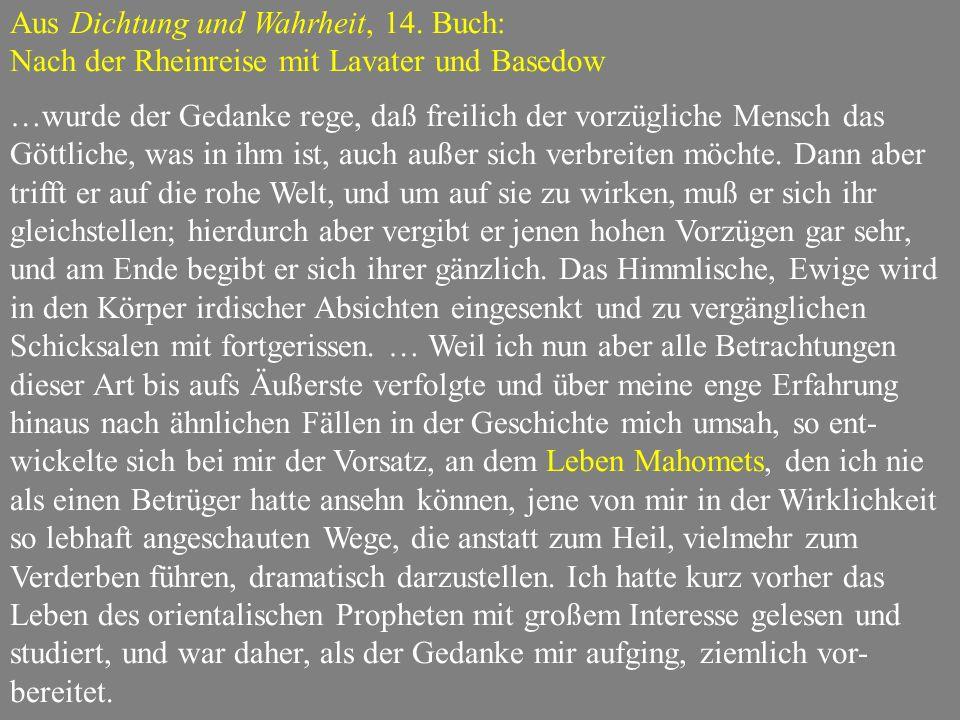 Aus Dichtung und Wahrheit, 14. Buch: Nach der Rheinreise mit Lavater und Basedow …wurde der Gedanke rege, daß freilich der vorzügliche Mensch das Gött