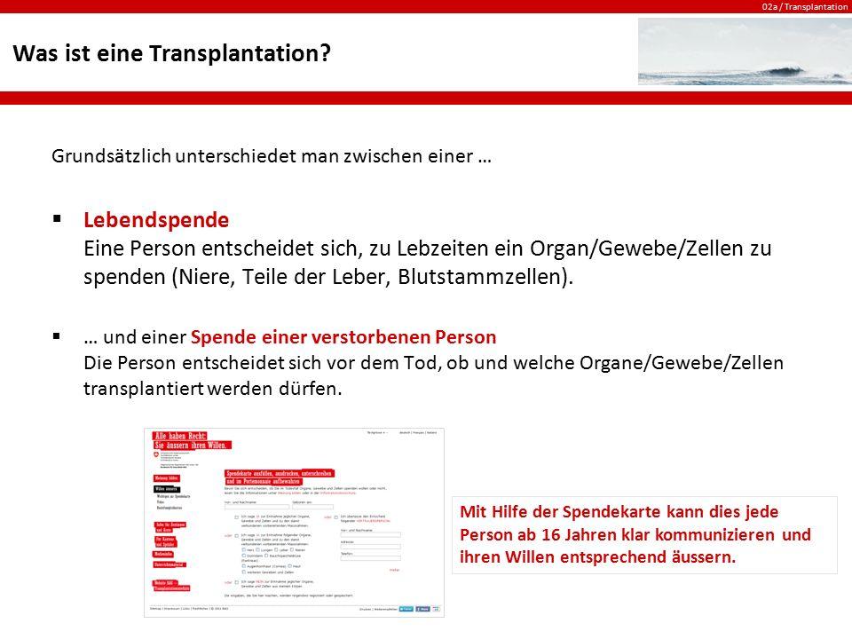 02a / Transplantation Die Spendekarte Die Spendekarte dient als schriftliche Willensäusserung für den Fall, dass jemand unerwartet verstirbt.