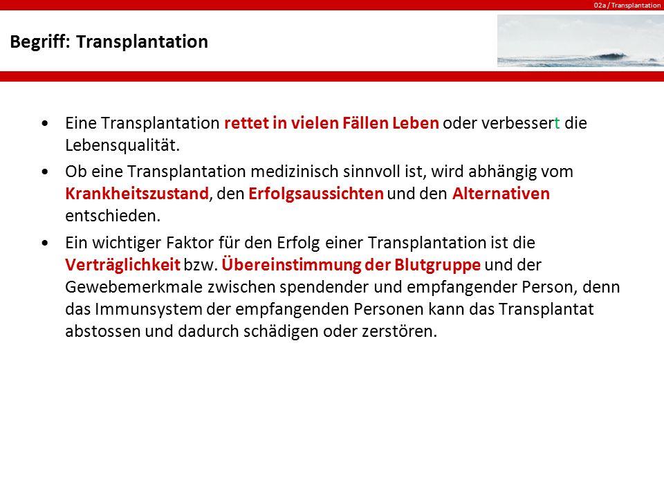 02a / Transplantation Begriff: Transplantation Eine Transplantation rettet in vielen Fällen Leben oder verbessert die Lebensqualität. Ob eine Transpla