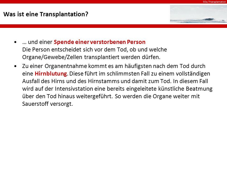 02a / Transplantation Was ist eine Transplantation? … und einer Spende einer verstorbenen Person Die Person entscheidet sich vor dem Tod, ob und welch