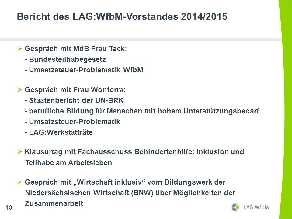 Bericht des LAG:WfbM-Vorstandes 2014/2015  Gespräch mit MdB Frau Tack: - Bundesteilhabegesetz - Umsatzsteuer-Problematik WfbM  Gespräch mit Frau Won