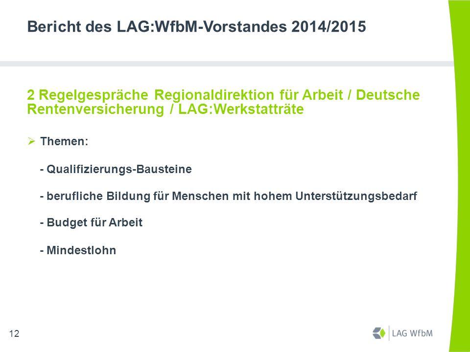 Bericht des LAG:WfbM-Vorstandes 2014/2015 2 Regelgespräche Regionaldirektion für Arbeit / Deutsche Rentenversicherung / LAG:Werkstatträte  Themen: -