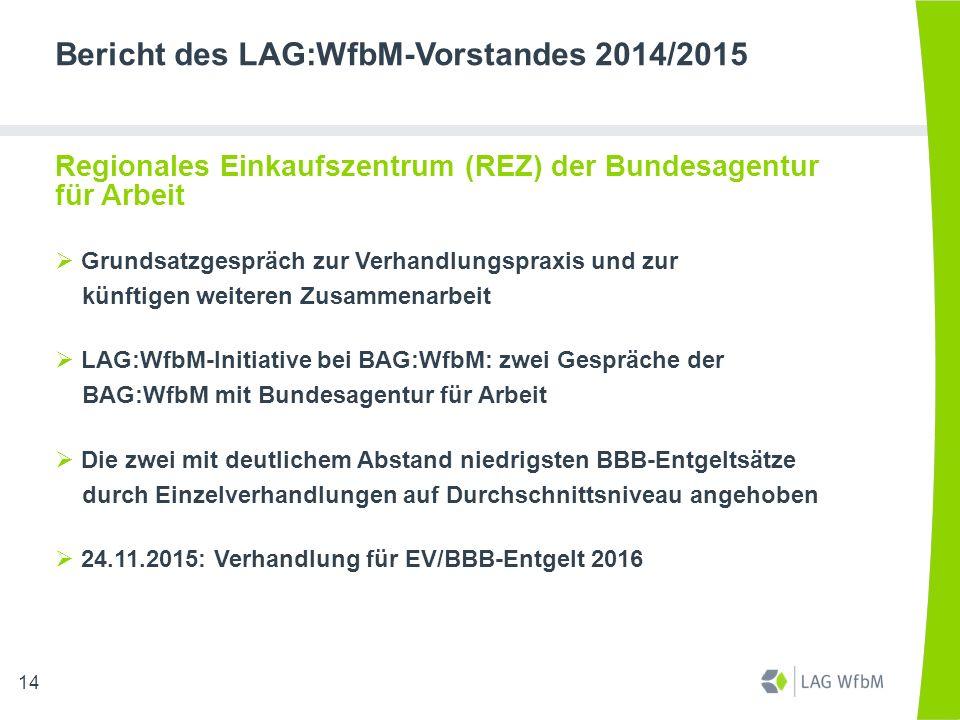 Bericht des LAG:WfbM-Vorstandes 2014/2015 Regionales Einkaufszentrum (REZ) der Bundesagentur für Arbeit  Grundsatzgespräch zur Verhandlungspraxis und