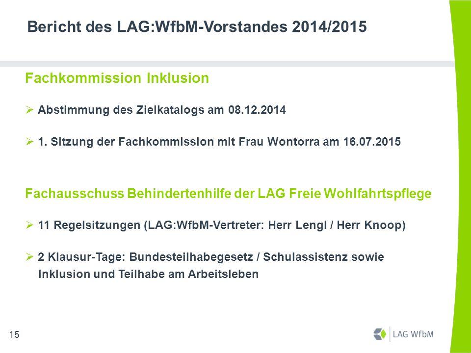 Bericht des LAG:WfbM-Vorstandes 2014/2015 Fachkommission Inklusion  Abstimmung des Zielkatalogs am 08.12.2014  1. Sitzung der Fachkommission mit Fra