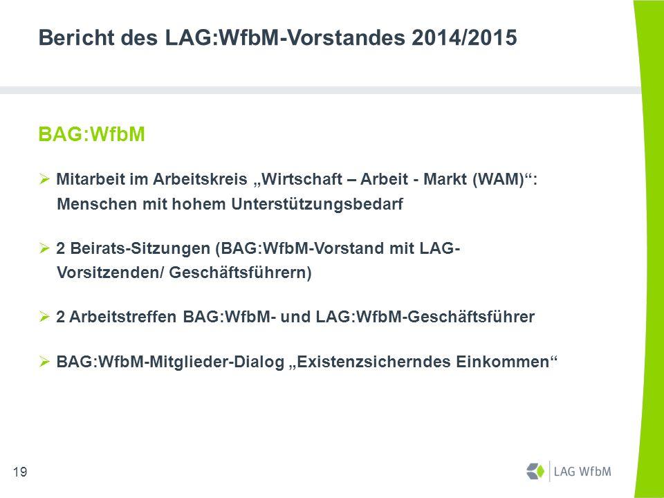 """Bericht des LAG:WfbM-Vorstandes 2014/2015 BAG:WfbM  Mitarbeit im Arbeitskreis """"Wirtschaft – Arbeit - Markt (WAM)"""": Menschen mit hohem Unterstützungsb"""