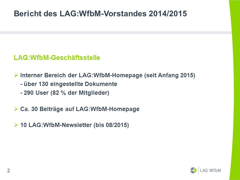 Bericht des LAG:WfbM-Vorstandes 2014/2015 LAG:WfbM-Geschäftsstelle  Interner Bereich der LAG:WfbM-Homepage (seit Anfang 2015) - über 130 eingestellte