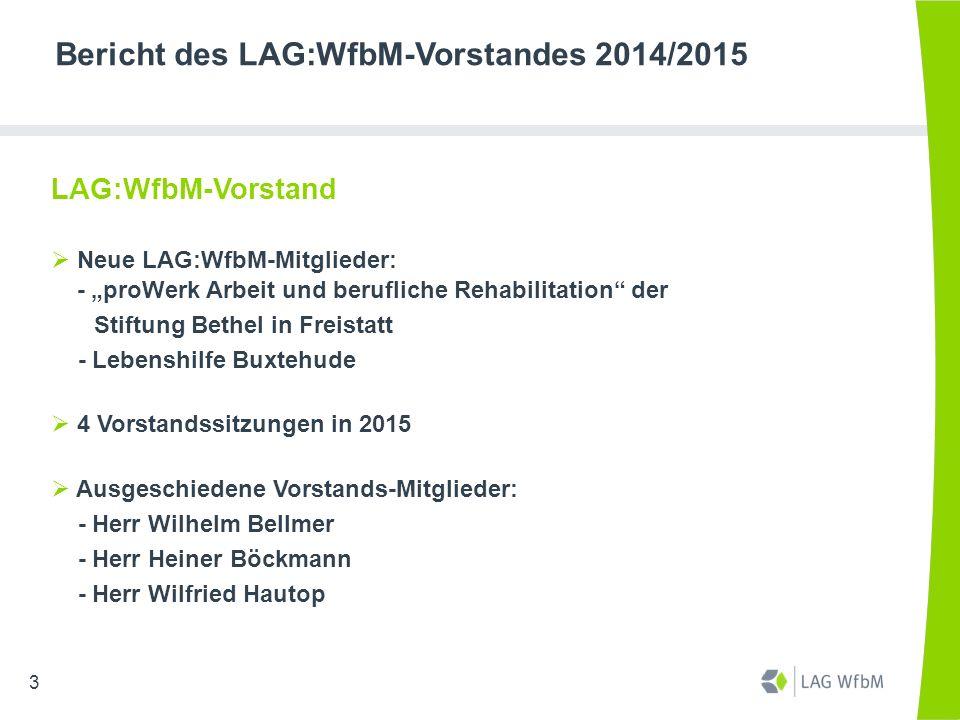 Bericht des LAG:WfbM-Vorstandes 2014/2015 Regionales Einkaufszentrum (REZ) der Bundesagentur für Arbeit  Grundsatzgespräch zur Verhandlungspraxis und zur künftigen weiteren Zusammenarbeit  LAG:WfbM-Initiative bei BAG:WfbM: zwei Gespräche der BAG:WfbM mit Bundesagentur für Arbeit  Die zwei mit deutlichem Abstand niedrigsten BBB-Entgeltsätze durch Einzelverhandlungen auf Durchschnittsniveau angehoben  24.11.2015: Verhandlung für EV/BBB-Entgelt 2016 14