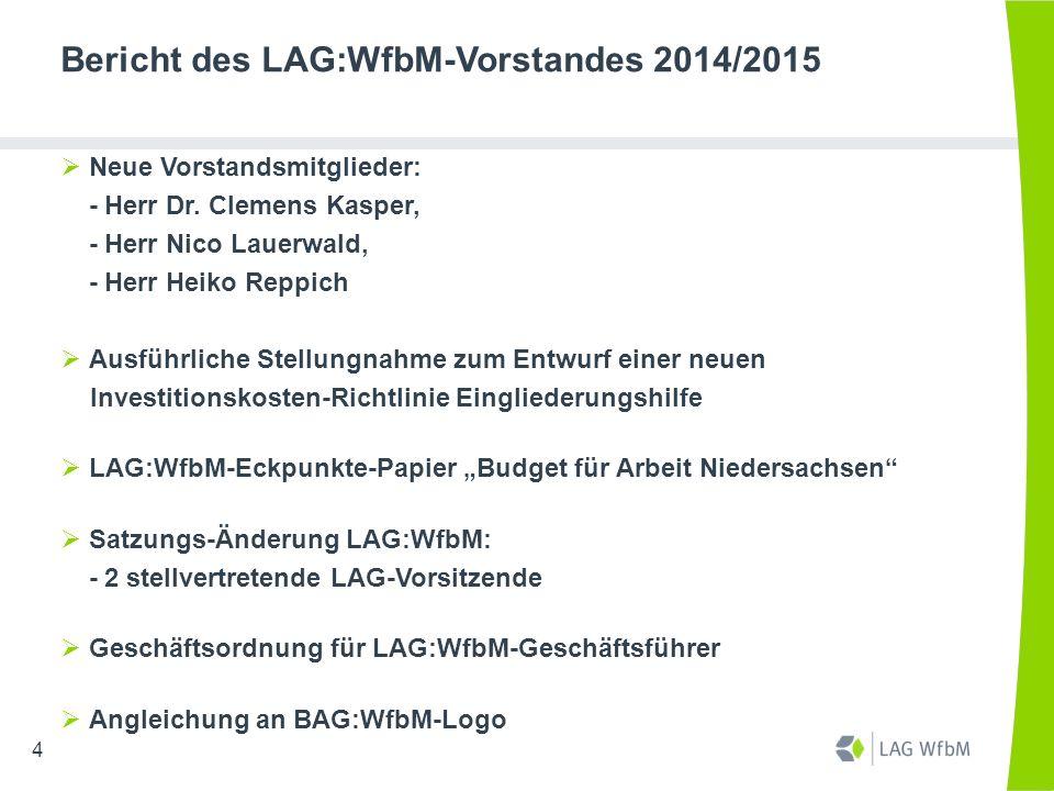Bericht des LAG:WfbM-Vorstandes 2014/2015  Neue Vorstandsmitglieder: - Herr Dr. Clemens Kasper, - Herr Nico Lauerwald, - Herr Heiko Reppich  Ausführ