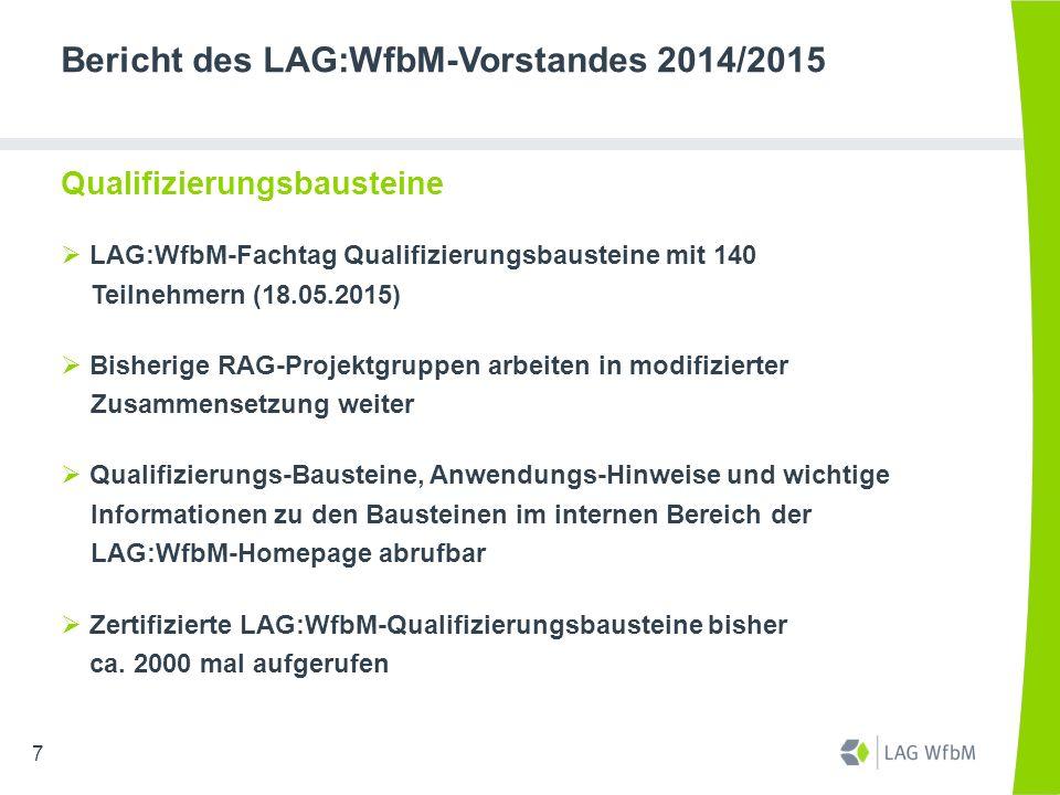 Bericht des LAG:WfbM-Vorstandes 2014/2015 Qualifizierungsbausteine  LAG:WfbM-Fachtag Qualifizierungsbausteine mit 140 Teilnehmern (18.05.2015)  Bish