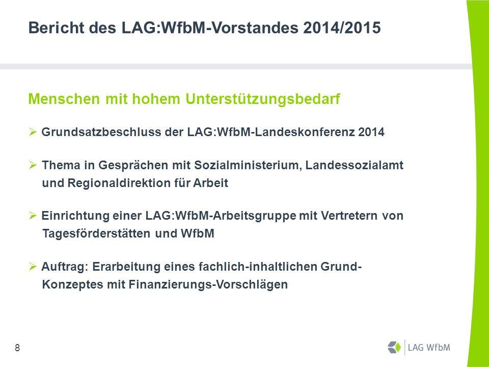 """Bericht des LAG:WfbM-Vorstandes 2014/2015 BAG:WfbM  Mitarbeit im Arbeitskreis """"Wirtschaft – Arbeit - Markt (WAM) : Menschen mit hohem Unterstützungsbedarf  2 Beirats-Sitzungen (BAG:WfbM-Vorstand mit LAG- Vorsitzenden/ Geschäftsführern)  2 Arbeitstreffen BAG:WfbM- und LAG:WfbM-Geschäftsführer  BAG:WfbM-Mitglieder-Dialog """"Existenzsicherndes Einkommen 19"""