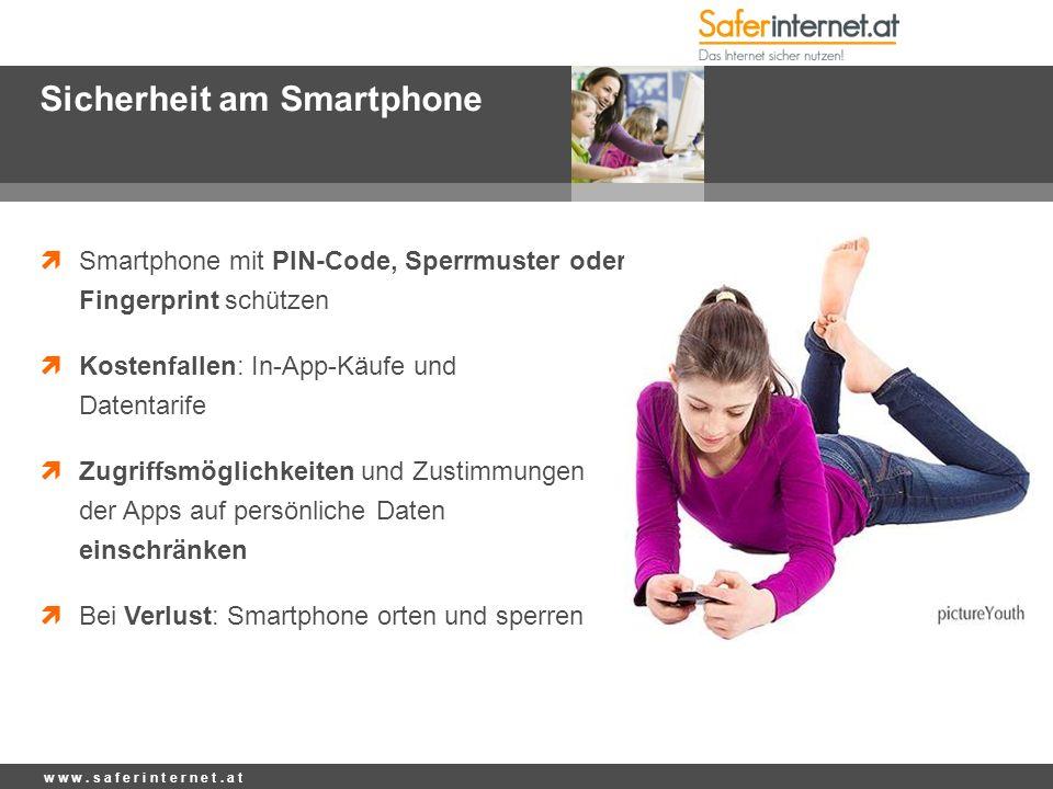 Sicherheit am Smartphone  Smartphone mit PIN-Code, Sperrmuster oder Fingerprint schützen  Kostenfallen: In-App-Käufe und Datentarife  Zugriffsmögli