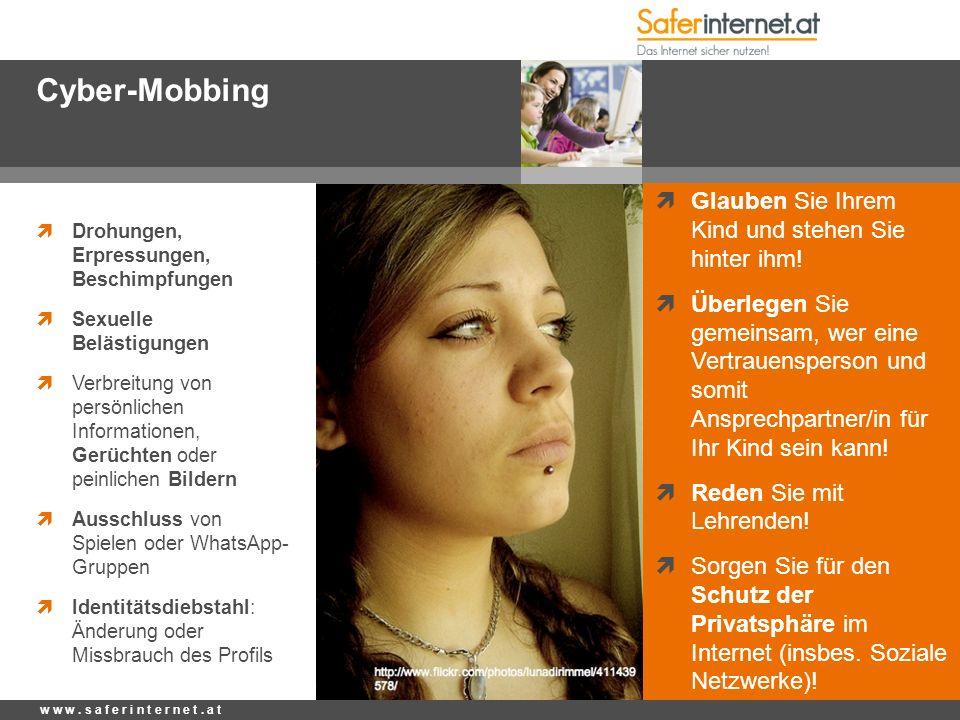 Cyber-Mobbing  Drohungen, Erpressungen, Beschimpfungen  Sexuelle Belästigungen  Verbreitung von persönlichen Informationen, Gerüchten oder peinlich