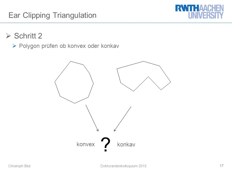 Christoph Blut Ear Clipping Triangulation  Schritt 2  Polygon prüfen ob konvex oder konkav 17 Doktorandenkolloquium 2015 konvex konkav
