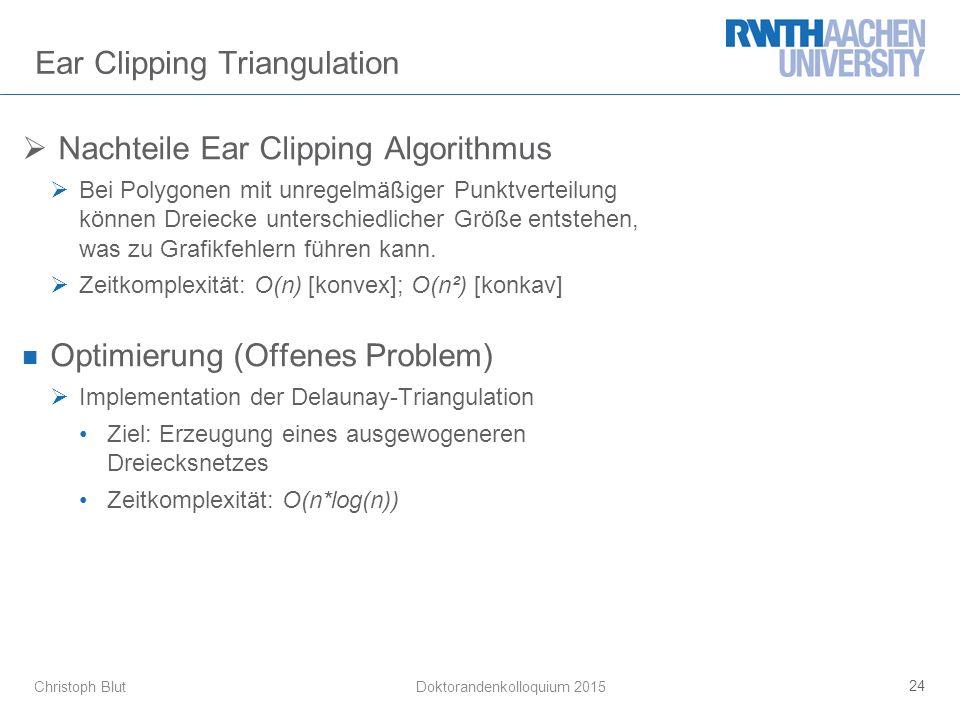 Christoph Blut Ear Clipping Triangulation  Nachteile Ear Clipping Algorithmus  Bei Polygonen mit unregelmäßiger Punktverteilung können Dreiecke unterschiedlicher Größe entstehen, was zu Grafikfehlern führen kann.