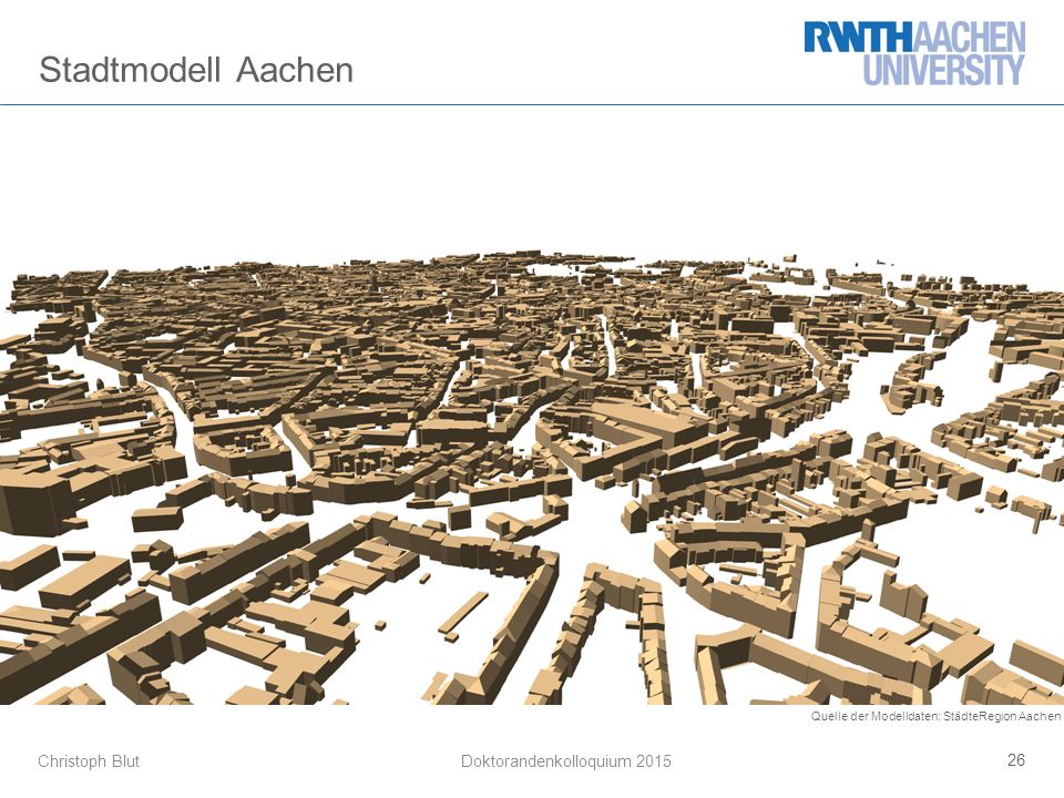 Christoph Blut 26 Doktorandenkolloquium 2015 Stadtmodell Aachen Quelle der Modelldaten: StädteRegion Aachen