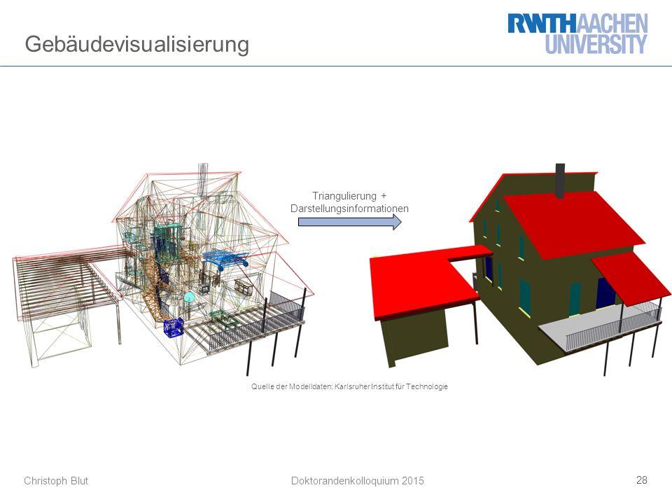 Christoph Blut Gebäudevisualisierung 28 Doktorandenkolloquium 2015 Triangulierung + Darstellungsinformationen Quelle der Modelldaten: Karlsruher Institut für Technologie