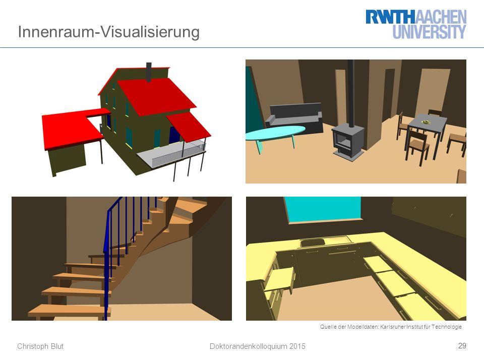 Christoph Blut 29 Doktorandenkolloquium 2015 Innenraum-Visualisierung Quelle der Modelldaten: Karlsruher Institut für Technologie