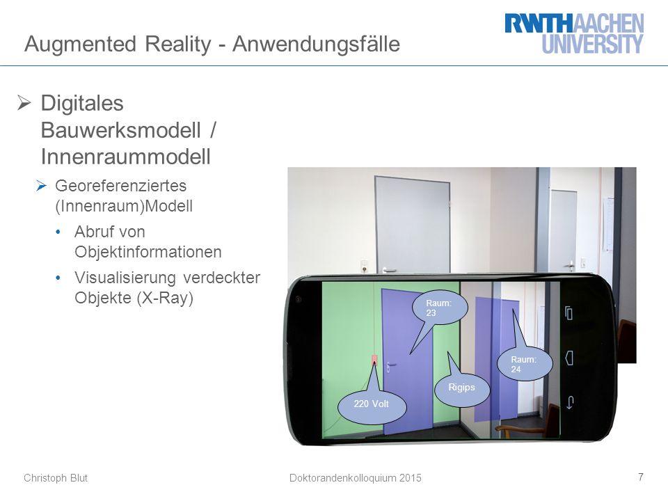 Christoph Blut Augmented Reality - Anwendungsfälle 7 Doktorandenkolloquium 2015 Raum: 23 220 Volt Raum: 24 Rigips  Digitales Bauwerksmodell / Innenra