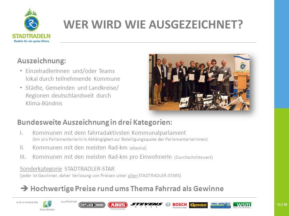 HAUPTPARTNER EINE KAMPAGNE DES 11 / 18 WER WIRD WIE AUSGEZEICHNET? Auszeichnung: EinzelradlerInnen und/oder Teams lokal durch teilnehmende Kommune Stä