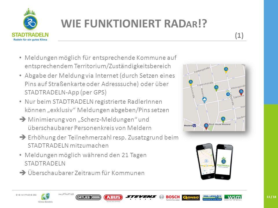 HAUPTPARTNER EINE KAMPAGNE DES 13 / 18 WIE FUNKTIONIERT RAD AR !? (1) Meldungen möglich für entsprechende Kommune auf entsprechendem Territorium/Zustä