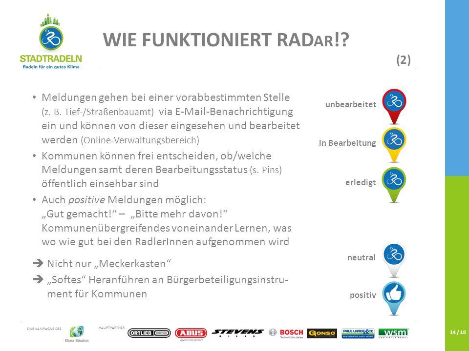 HAUPTPARTNER EINE KAMPAGNE DES 14 / 18 WIE FUNKTIONIERT RAD AR !? (2) Meldungen gehen bei einer vorabbestimmten Stelle (z. B. Tief-/Straßenbauamt) via
