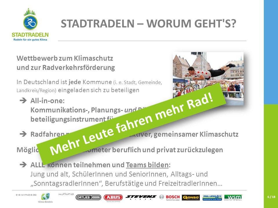 HAUPTPARTNER EINE KAMPAGNE DES 6 / 18 STADTRADELN – WORUM GEHT'S? Wettbewerb zum Klimaschutz und zur Radverkehrsförderung In Deutschland ist jede Komm