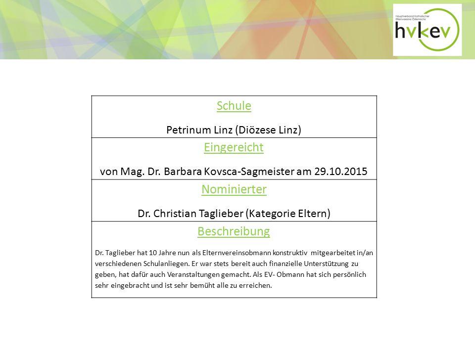 Schule Petrinum Linz (Diözese Linz) Eingereicht von Mag.
