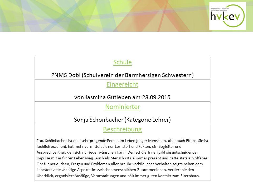 Schule PNMS Dobl (Schulverein der Barmherzigen Schwestern) Eingereicht von Jasmina Gutleben am 28.09.2015 Nominierter Sonja Schönbacher (Kategorie Lehrer) Beschreibung Frau Schönbacher ist eine sehr prägende Person im Leben junger Menschen, aber auch Eltern.