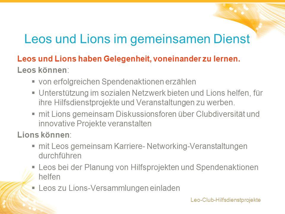6 Leos und Lions haben Gelegenheit, voneinander zu lernen.