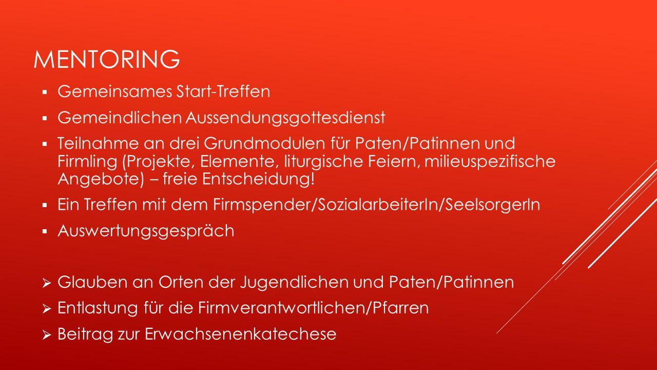 MENTORING  Gemeinsames Start-Treffen  Gemeindlichen Aussendungsgottesdienst  Teilnahme an drei Grundmodulen für Paten/Patinnen und Firmling (Projekte, Elemente, liturgische Feiern, milieuspezifische Angebote) – freie Entscheidung.