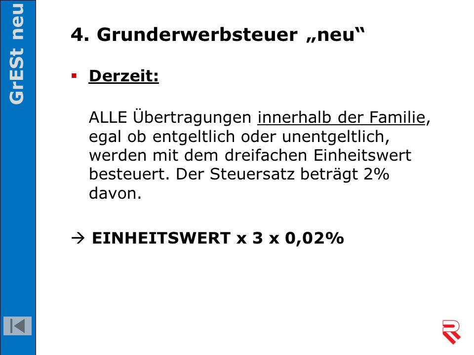 """4. Grunderwerbsteuer """"neu""""  Derzeit: ALLE Übertragungen innerhalb der Familie, egal ob entgeltlich oder unentgeltlich, werden mit dem dreifachen Einh"""